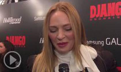 Интервью с Умой Турман на премьере