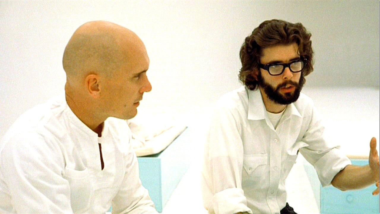 Роберт Дювалл и Джордж Лукас на съемках фильма «THX 1138»
