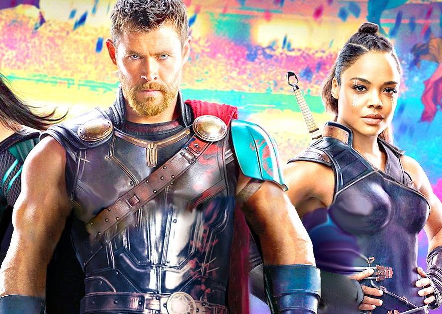 """Крис Хемсворт и Тесса Томпсон на постере фильма """"Тор: Рагнарек"""""""