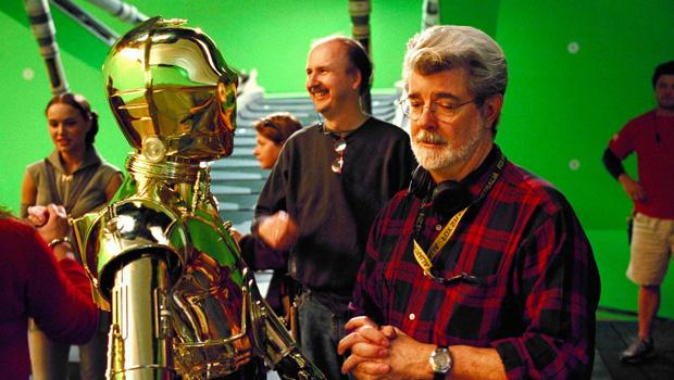 Джордж Лукас на съемках трилоги приквелов