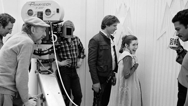 "Харрисон Форд и Кэрри Фишер на съемках ""Звездных войн"""