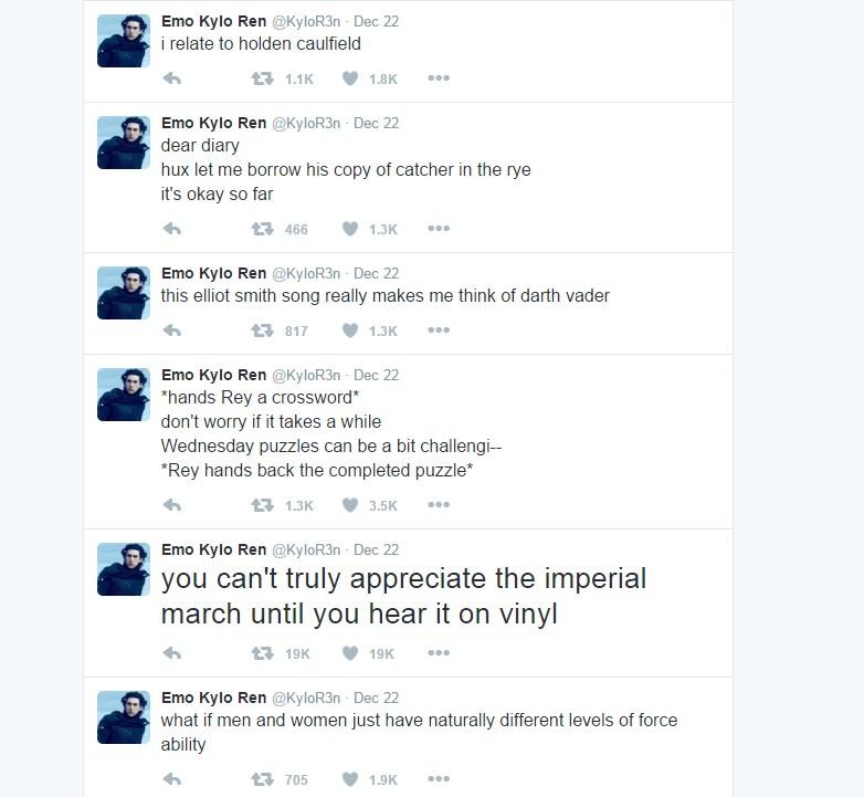 посты Кайло Рена в Твиттере