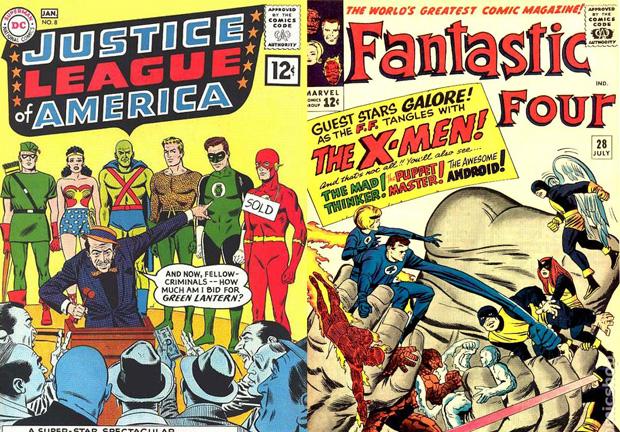 Лига справедливости Америки и ранний комикс о Фантастической четверке